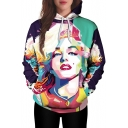 Digital Color Block Sexy Lady Printed Long Sleeve Leisure Unisex Hoodie