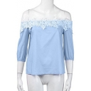 Summer Collection Floral Embellished Off The Shoulder 3/4 Length Sleeve Blouse