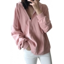 Daily Style Plain Long Sleeves Zippered Women's Hoodie with Pockets
