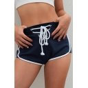 Popular Drawstring Lace-up Waist Contrast Trim Women's Workout Shorts