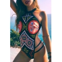 Peasant Style Tribal Print Halter Neck Hollow Out Detail One Piece Swimwear