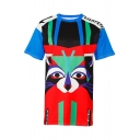 Leisure Color Block Cartoon Letter Printed Round Neck Short Sleeve Tee