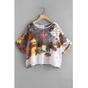 Vintage Fashion Floral Print Round Neck Batwing Sleeves Loose Tee
