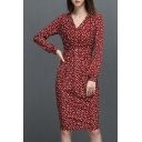 Trendy Allover Pattern V-Neck Long Sleeve Ruched Waist Pencil Midi Dress