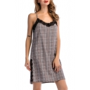 Hot Fashion Spaghetti Straps Lace Inset Tartan Plaids Button Detail Mini Cami Dress