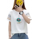 Stylish Fish Letter Print Round Neck Short Sleeves Casual Tee
