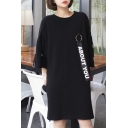 Letter Printed Strap Embellished Half Sleeve Round Neck Midi T-Shirt Dress