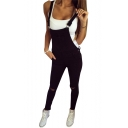Sportive Plain Cutout Ripped Off Detail Slim Leg Women's Overall Pants Jumpsuit