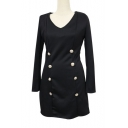 Top Design Button Detail V-Neck Long Sleeve Zip Back Plain Mini Pencil Dress