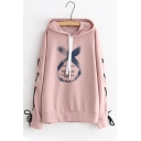 Lace Up Grommet Embellished Long Sleeve Letter Printed Leisure Hoodie