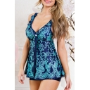 Fashion Printed V Neck Sleeveless Hollow Out Back Two Pieces Swimwear