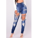 Street Fashion Ripped Off Hollow Detail Zipper Fly High Waist Skinny Jeans
