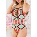 Chic Geometric Printed Spaghetti Straps Lace Up Front Sleeveless One Piece Swimwear