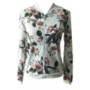 Chic Fashion Floral Print Long Sleeve Zip Up Baseball Jacket