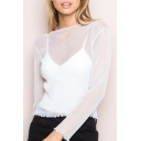 Unique Plain See Through Long Sleeve Boat Neck Pullover Cropped Tee