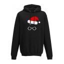 Cute Christmas Hat Eyeglasses Print Long Sleeves Pullover Hoodie