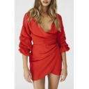 Pop Stylish Plain Plunge Neck 3/4 Sleeve Ruched Detail Bow Belted Mini Wrap Dress