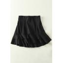 Popular Plain Ruffle Layered Hem High Waist Zip Back Women's Skirt