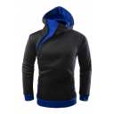 Sportive Simple Color Block Zipper Detail Long Sleeves Pullover Hoodie