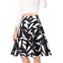 Spring's New Arrival Elegant Leaf Printed Zipper Fly Midi A-Line Skirt