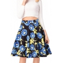 Elegant Floral Printed Zipper Fly High Waist Midi A-Line Skirt