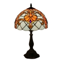 Baroque Dome Lampshade Design 18''H Table Lamp with Tiffany Colorful Glass