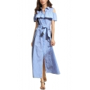 Vogue Striped Pattern Cold Shoulder Button Front Ruffle Detail Belted Midi Shirt Dress