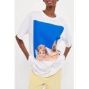 Retro Style Angel Baby Pattern Round Neck Short Sleeves Summer T-shirt