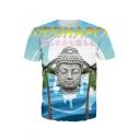 Digital Buddha Japanese Printed Round Neck Short Sleeve Tee
