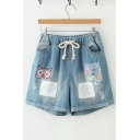 Retro Floral Cat Embroidery Drawstring Waist Pocket Side Patchwork Turn-up Denim Shorts