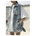 Fashion Ripped Fringe Trim Lapel Collar Denim Vest with Pockets
