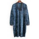 Street Fashion V-Neck Long Sleeve Striped Trim Velvet Mini Loose Shift Dress