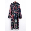 Fashionable Floral Print Long Sleeve Ruffle High Neck Shift Midi Dress