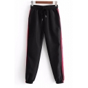 Comfort Contrast Striped Printed Side Drawstring Waist Loose Sports Pants