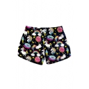 Chic Unicorn Doughnut Printed Drawstring Waist Shorts with Pockets