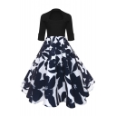 Popular Half Sleeve Floral Pattern Square Neck Midi Fit & Flare Dress