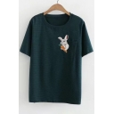 Rabbit Embroidered Detail Pocket Striped Printed Round Neck Short Sleeve Tee