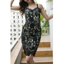 Lady's Spaghetti Straps Sleeveless Floral Pattern Lace Slim Midi Cami Dress