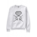 Chic Diamond Letter Print Round Neck Long Sleeves Pullover Sweatshirt