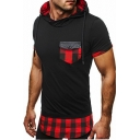 Popular Checked Plaids Pattern Patchwork Layered Summer Hooded Tee
