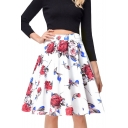 Retro Floral Printed Zipper Fly Leisure Midi A-Line Skirt
