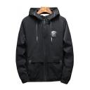Stylish Letter Badge Detail Long Sleeves Zippered Hooded Jacket
