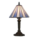 8''W Desk Lamp with Conical Glass Shade Tiffany Light in Blue&White Finish