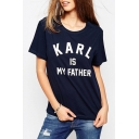 New Arrival Letter Print Round Neck Short Sleeves Casual Tee