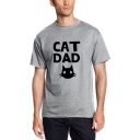 Funny Cat Letter Print Round Neck Short Sleeves Summer T-shirt
