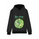 Popular Cartoon Letter Print Long Sleeves Pullover Hoodie with Pocket