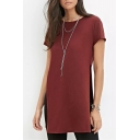 Simple Plain Round Neck Short Sleeves Split Side Casual Tunic Tee