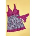 Color Block Printed V Neck Sleeveless Tank Swimwear