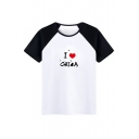 Hot Fancy Color Block Letter Sweetheart Print Round Neck Summer T-shirt