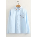 Cute Bear Paw Embroidered Lapel Button Front Long Sleeve Shirt